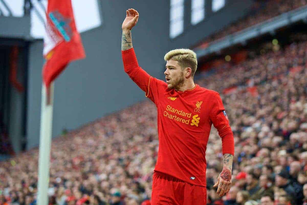 LIVERPOOL, ENGLAND - Saturday, January 7, 2017: Liverpool's Alberto Moreno prepares to take a corner-kick against Plymouth Argyle during the FA Cup 3rd Round match at Anfield. (Pic by David Rawcliffe/Propaganda)
