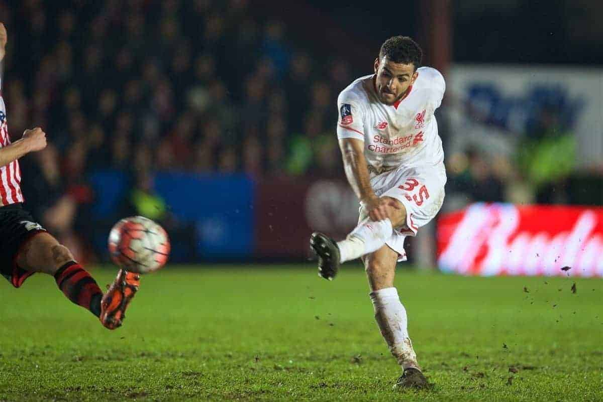 EXETER, ENGLAND - Friday, January 8, 2016: Liverpool's Kevin Stewart in action against Exeter City during the FA Cup 3rd Round match at St. James Park. (Pic by David Rawcliffe/Propaganda)