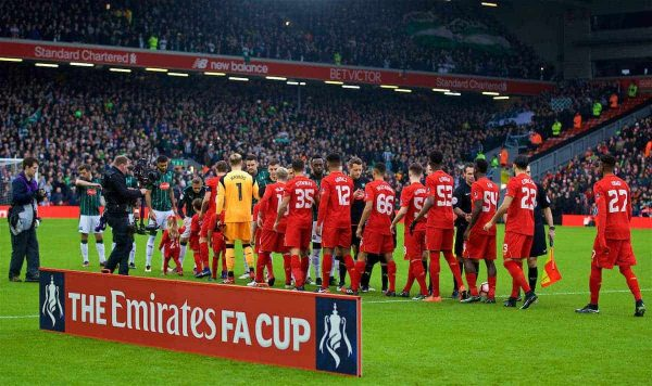 Liverpool and Plymouth Argyle players shake hands before the FA Cup 3rd Round match at Anfield. (Pic by David Rawcliffe/Propaganda)