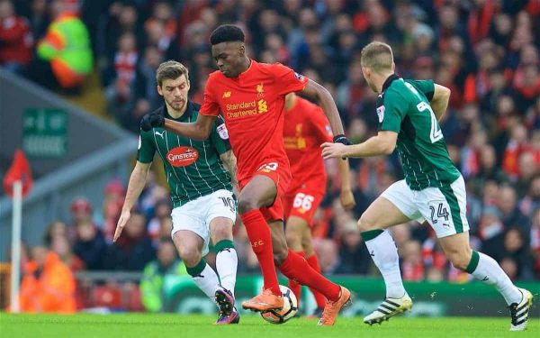 LIVERPOOL, ENGLAND - Saturday, January 7, 2017: Liverpool's Oviemuno Ovie Ejaria in action against Plymouth Argyle during the FA Cup 3rd Round match at Anfield. (Pic by David Rawcliffe/Propaganda)