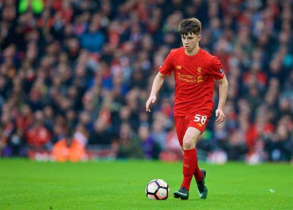 LIVERPOOL, ENGLAND - Saturday, January 7, 2017: Liverpool's Ben Woodburn in action against Plymouth Argyle during the FA Cup 3rd Round match at Anfield. (Pic by David Rawcliffe/Propaganda)