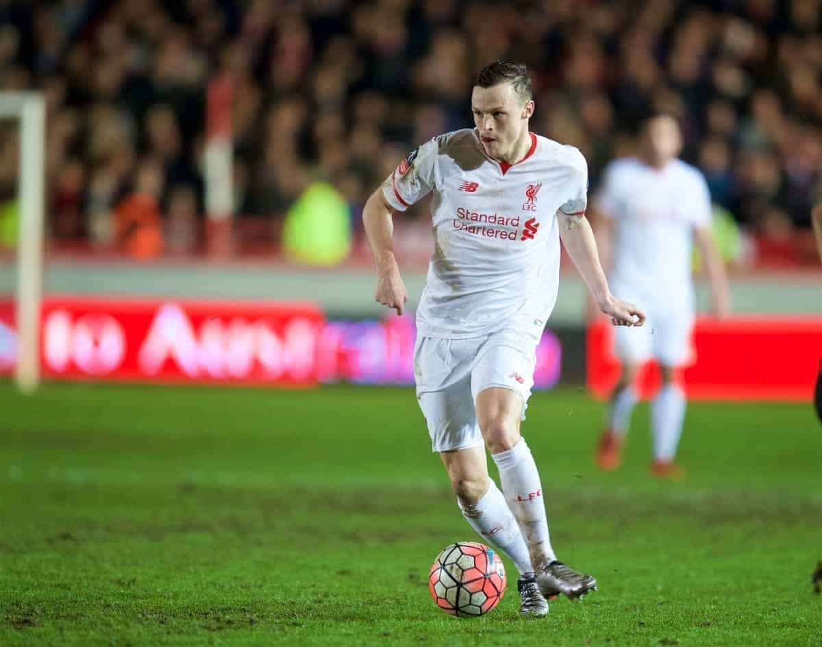 EXETER, ENGLAND - Friday, January 8, 2016: Liverpool's Brad Smith in action against Exeter City during the FA Cup 3rd Round match at St. James Park. (Pic by David Rawcliffe/Propaganda)
