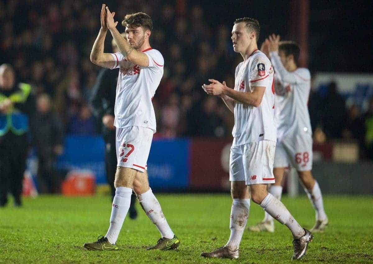 EXETER, ENGLAND - Friday, January 8, 2016: Liverpool's Joe Maguire and Brad Smith applaud the travelling supporters after the 2-2 draw with Exeter City during the FA Cup 3rd Round match at St. James Park. (Pic by David Rawcliffe/Propaganda)