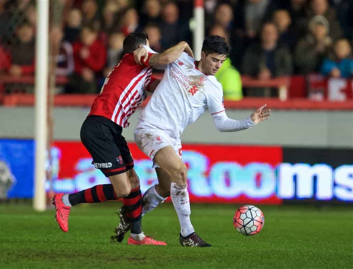 EXETER, ENGLAND - Friday, January 8, 2016: Liverpool's Joao Carlos Teixeira in action against Exeter City during the FA Cup 3rd Round match at St. James Park. (Pic by David Rawcliffe/Propaganda)