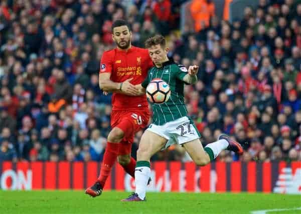 LIVERPOOL, ENGLAND - Saturday, January 7, 2017: Liverpool's xxxx in action against Plymouth Argyle during the FA Cup 3rd Round match at Anfield. (Pic by David Rawcliffe/Propaganda)