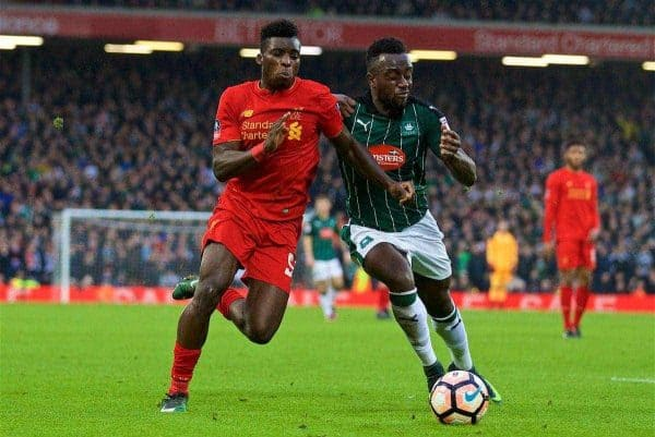 LIVERPOOL, ENGLAND - Saturday, January 7, 2017: Liverpool's Sheyi Ojo in action against Plymouth Argyle during the FA Cup 3rd Round match at Anfield. (Pic by David Rawcliffe/Propaganda)