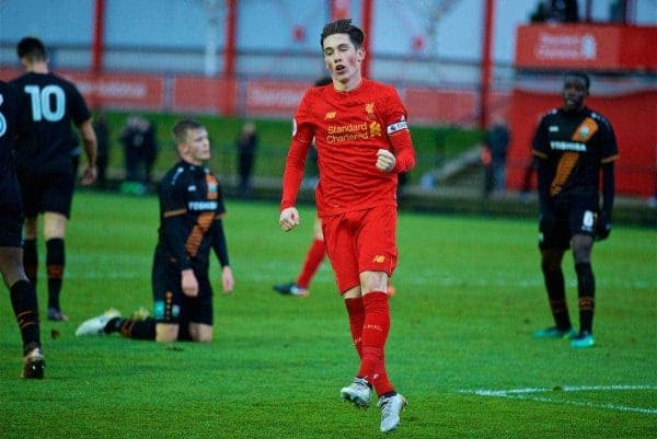 KIRKBY, ENGLAND - Tuesday, January 10, 2017: Liverpool's captain Harry Wilson celebrates scoring the second goal against Barnet during an Under-23 friendly match at the Kirkby Academy. (Pic by David Rawcliffe/Propaganda)