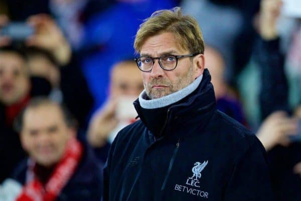 Liverpool's manager Jürgen Klopp before the Football League Cup Semi-Final 1st Leg match against Southampton at St. Mary's Stadium. (Pic by David Rawcliffe/Propaganda)
