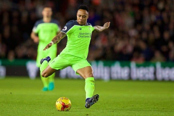 SOUTHAMPTON, ENGLAND - Wednesday, January 11, 2017: Liverpool's Nathaniel Clyne in action against Southampton during the Football League Cup Semi-Final 1st Leg match at St. Mary's Stadium. (Pic by David Rawcliffe/Propaganda)