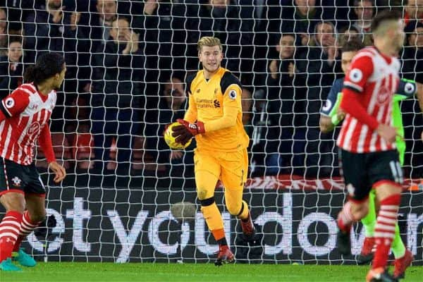 SOUTHAMPTON, ENGLAND - Wednesday, January 11, 2017: Liverpool's goalkeeper Loris Karius in action against Southampton during the Football League Cup Semi-Final 1st Leg match at St. Mary's Stadium. (Pic by David Rawcliffe/Propaganda)
