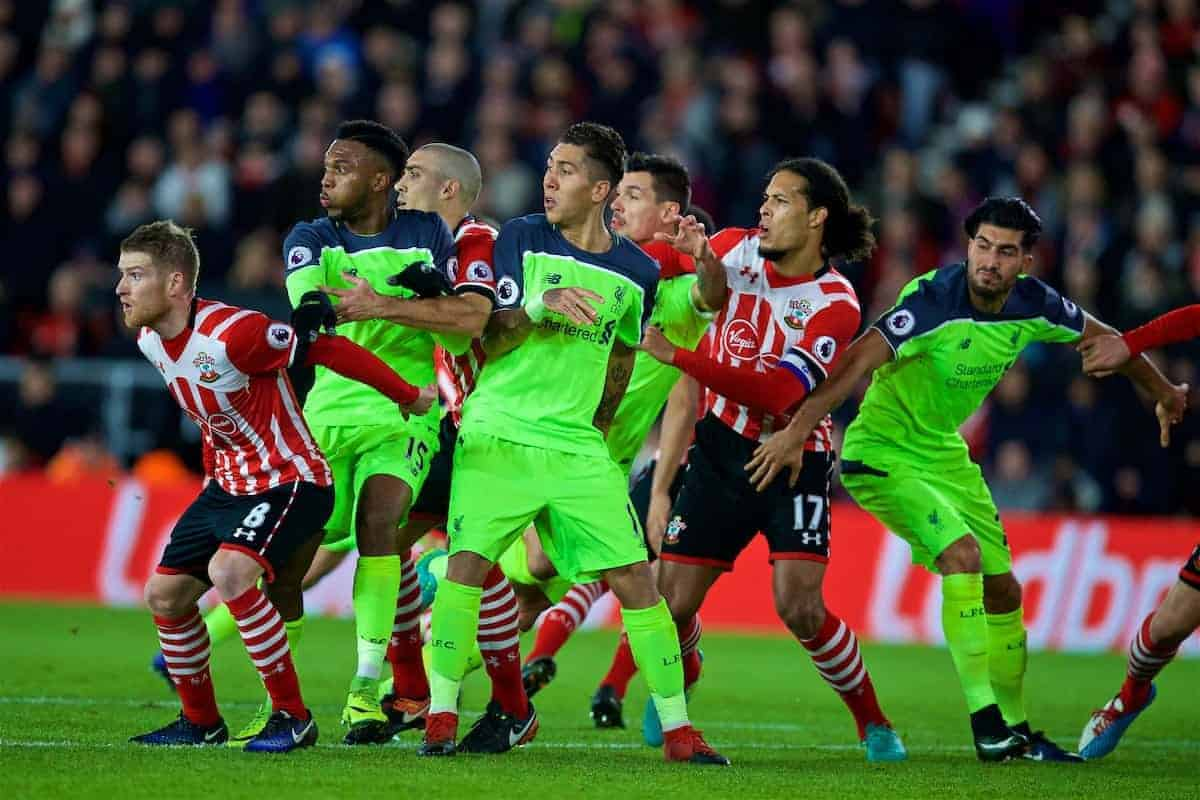 SOUTHAMPTON, ENGLAND - Wednesday, January 11, 2017: Liverpool's Daniel Sturridge, Roberto Firmino and Emre Can in action against Southampton's Steven Davis and Virgil Van Dijk during the Football League Cup Semi-Final 1st Leg match at St. Mary's Stadium. (Pic by David Rawcliffe/Propaganda)