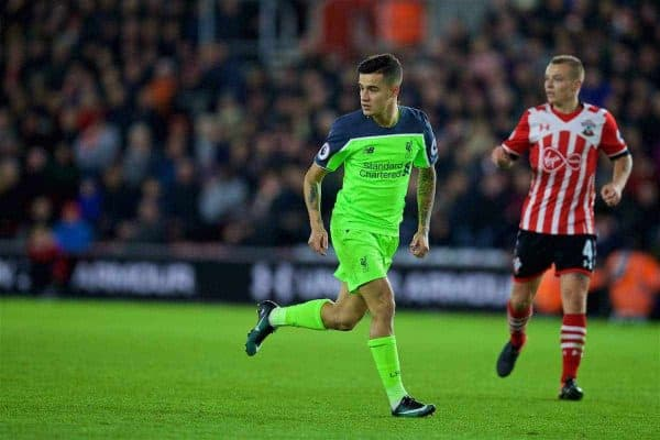 SOUTHAMPTON, ENGLAND - Wednesday, January 11, 2017: Liverpool's Philippe Coutinho Correia in action against Southampton during the Football League Cup Semi-Final 1st Leg match at St. Mary's Stadium. (Pic by David Rawcliffe/Propaganda)
