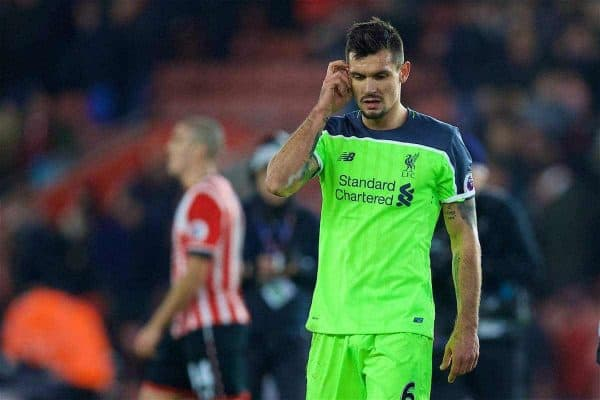 Liverpool's Dejan Lovren looks dejected as his side lose 1-0 to Southampton during the Football League Cup Semi-Final 1st Leg match at St. Mary's Stadium. (Pic by David Rawcliffe/Propaganda)