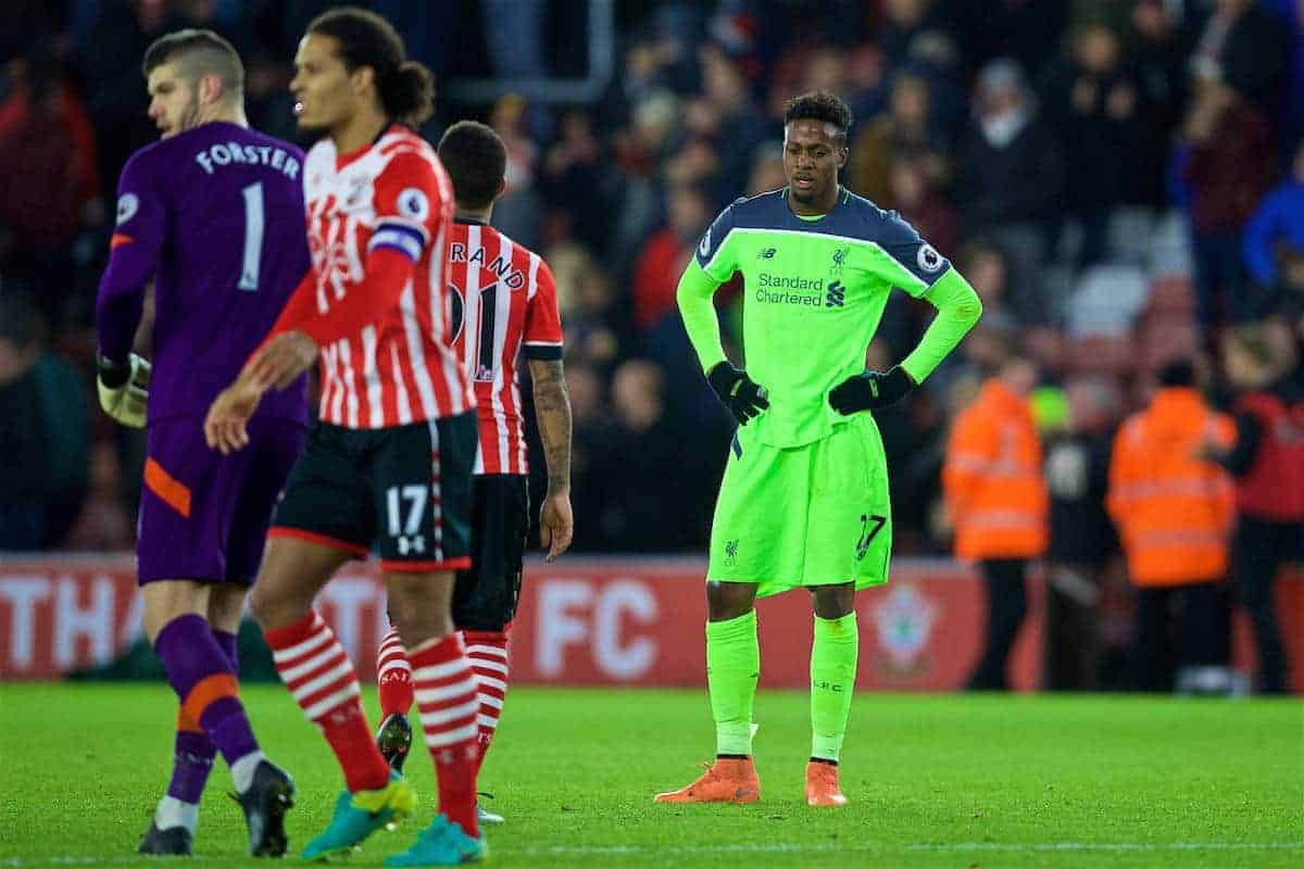 SOUTHAMPTON, ENGLAND - Wednesday, January 11, 2017: Liverpool's Divock Origi looks dejected as his side lose 1-0 to Southampton during the Football League Cup Semi-Final 1st Leg match at St. Mary's Stadium. (Pic by David Rawcliffe/Propaganda)