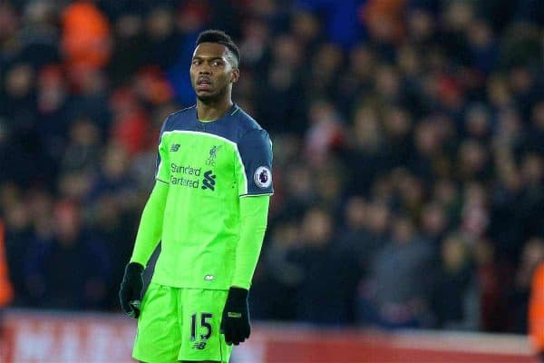 SOUTHAMPTON, ENGLAND - Wednesday, January 11, 2017: Liverpool's Daniel Sturridge looks dejected as his side lose 1-0 to Southampton during the Football League Cup Semi-Final 1st Leg match at St. Mary's Stadium. (Pic by David Rawcliffe/Propaganda)