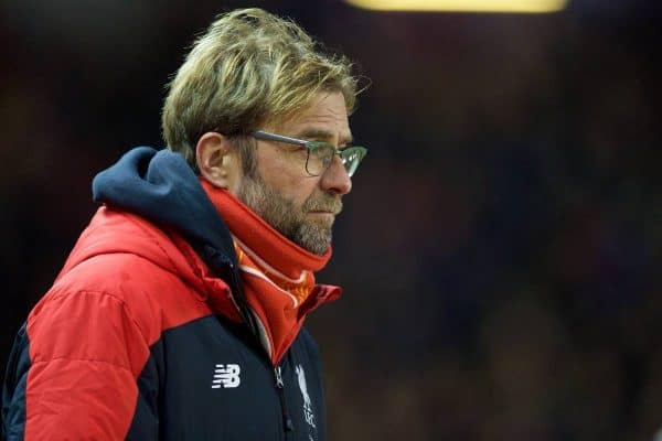 LIVERPOOL, ENGLAND - Wednesday, January 13, 2016: Liverpool's manager Jürgen Klopp before the Premier League match against Arsenal at Anfield. (Pic by David Rawcliffe/Propaganda)
