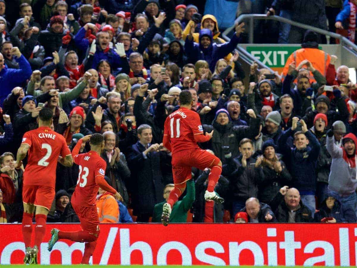LIVERPOOL, ENGLAND - Wednesday, January 13, 2016: Liverpool's celebrates scoring the second goal against Arsenal during the Premier League match at Anfield. (Pic by David Rawcliffe/Propaganda)