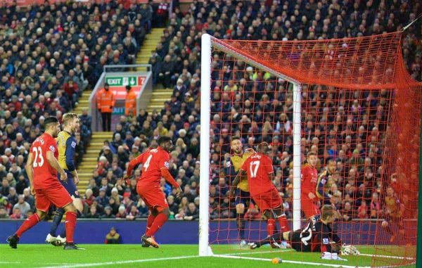 LIVERPOOL, ENGLAND - Wednesday, January 13, 2016: Arsenal's Oliver Giroud scores the second equalising goal against during the Premier League match at Anfield. (Pic by David Rawcliffe/Propaganda)