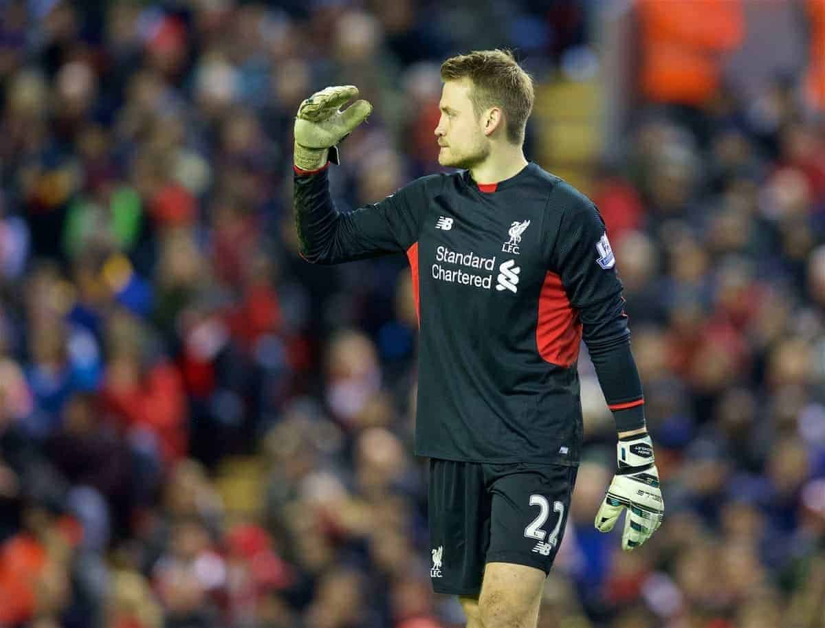 LIVERPOOL, ENGLAND - Wednesday, January 13, 2016: Liverpool's goalkeeper Simon Mignolet looks dejected as Arsenal score the second equalising goal during the Premier League match at Anfield. (Pic by David Rawcliffe/Propaganda)