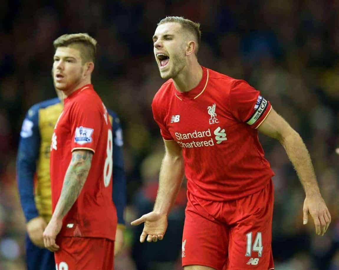 LIVERPOOL, ENGLAND - Wednesday, January 13, 2016: Liverpool's captain Jordan Henderson in action against Arsenal during the Premier League match at Anfield. (Pic by David Rawcliffe/Propaganda)