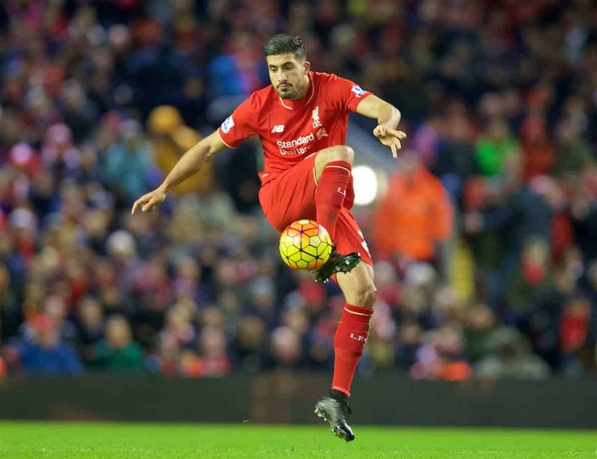 LIVERPOOL, ENGLAND - Wednesday, January 13, 2016: Liverpool's Emre Can in action against Arsenal during the Premier League match at Anfield. (Pic by David Rawcliffe/Propaganda)