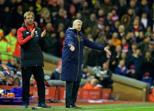 LIVERPOOL, ENGLAND - Wednesday, January 13, 2016: Arsenal's manager Arsene Wenger and Liverpool's manager Jürgen Klopp during the Premier League match at Anfield. (Pic by David Rawcliffe/Propaganda)