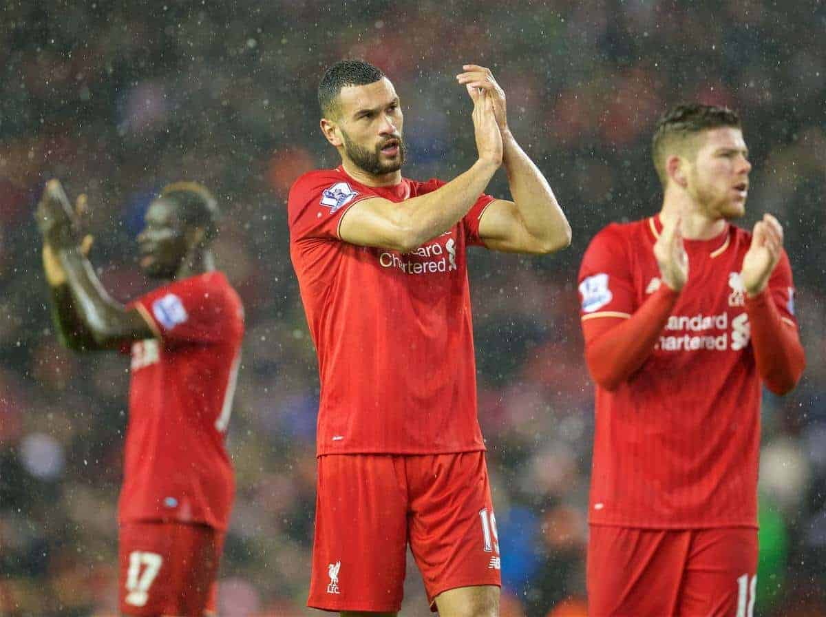 LIVERPOOL, ENGLAND - Wednesday, January 13, 2016: Liverpool's new signing Steven Caulker after the 2-2 draw with Arsenal the Premier League match at Anfield. (Pic by David Rawcliffe/Propaganda)