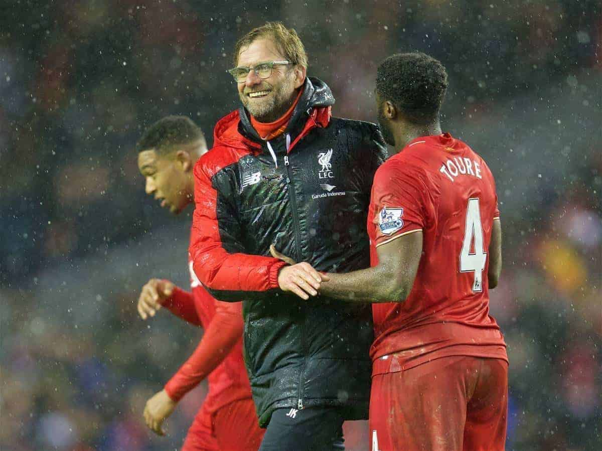 LIVERPOOL, ENGLAND - Wednesday, January 13, 2016: Liverpool's new signing manager Jürgen Klopp and Kolo Toure after the 2-2 draw with Arsenal the Premier League match at Anfield. (Pic by David Rawcliffe/Propaganda)