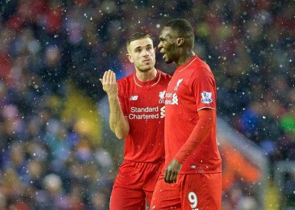 LIVERPOOL, ENGLAND - Wednesday, January 13, 2016: Liverpool's captain Jordan Henderson and Christian Benteke during the Premier League match against Arsenal at Anfield. (Pic by David Rawcliffe/Propaganda)