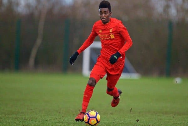 HALEWOOD, ENGLAND - Saturday, January 14, 2017: Liverpool's Rhian Brewster in action against Everton during an Under-18 FA Premier League match at Finch Farm. (Pic by David Rawcliffe/Propaganda)
