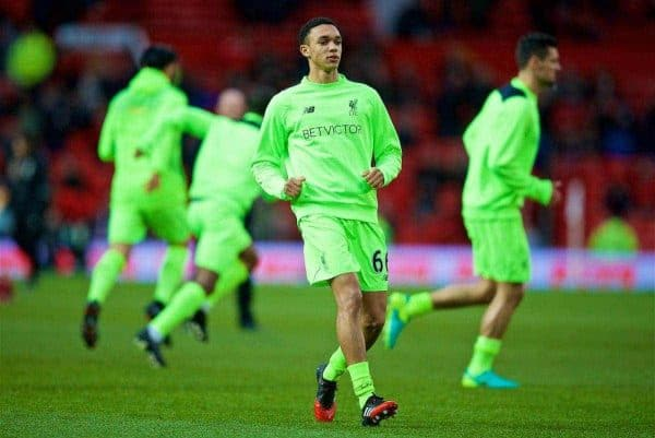 MANCHESTER, ENGLAND - Sunday, January 15, 2017: Liverpool's Trent Alexander-Arnold warms-up before the FA Premier League match against Manchester United at Old Trafford. (Pic by David Rawcliffe/Propaganda)