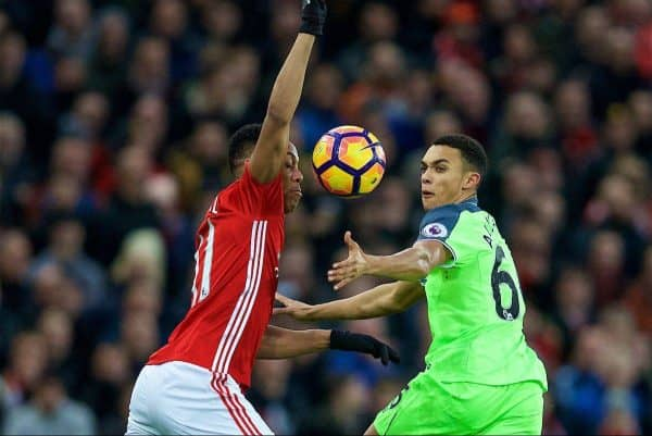 MANCHESTER, ENGLAND - Sunday, January 15, 2017: Liverpool's Trent Alexander-Arnold in action against Manchester United's Anthony Martial during the FA Premier League match at Old Trafford. (Pic by David Rawcliffe/Propaganda)