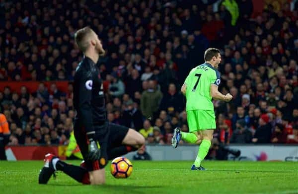 Liverpool's James Milner celebrates scoring the first goal against Manchester United's goalkeeper David de Gea from the penalty spot during the FA Premier League match at Old Trafford. (Pic by David Rawcliffe/Propaganda)