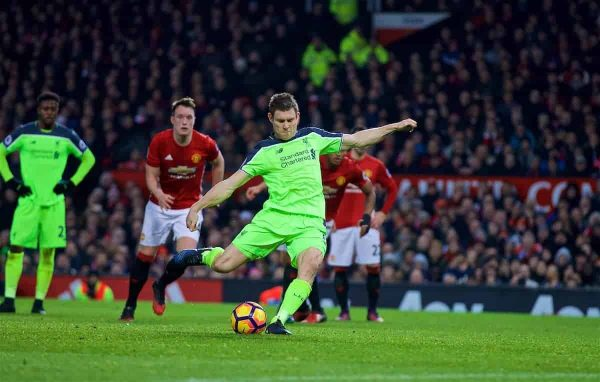 Liverpool's James Milner scores the first goal against Manchester United from the penalty spot during the FA Premier League match at Old Trafford. (Pic by David Rawcliffe/Propaganda)