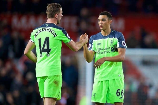 MANCHESTER, ENGLAND - Sunday, January 15, 2017: Liverpool's captain Jordan Henderson congratulates Trent Alexander-Arnold after his debut during the FA Premier League match against Manchester United at Old Trafford. (Pic by David Rawcliffe/Propaganda)