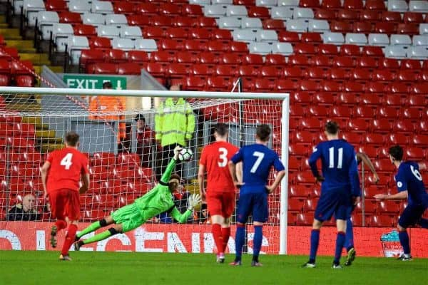 LIVERPOOL, ENGLAND - Monday, January 16, 2017: Liverpool's goalkeeper Shamal George saves a penalty kick from Manchester United's Sean Goss during FA Premier League 2 Division 1 Under-23 match at Anfield. (Pic by David Rawcliffe/Propaganda)