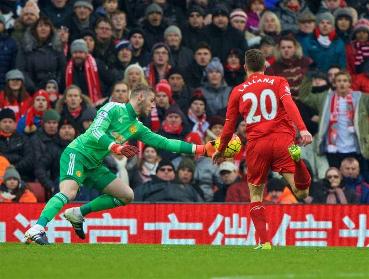 LIVERPOOL, ENGLAND - Sunday, January 17, 2016: Liverpool's Adam Lallana sees his header saved by Manchester United's goalkeeper David de Gea during the Premier League match at Anfield. (Pic by David Rawcliffe/Propaganda)