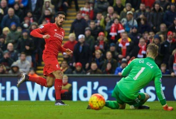LIVERPOOL, ENGLAND - Sunday, January 17, 2016: Liverpool's Emre Can sees his shot saved by Manchester United's goalkeeper David de Gea during the Premier League match at Anfield. (Pic by David Rawcliffe/Propaganda)