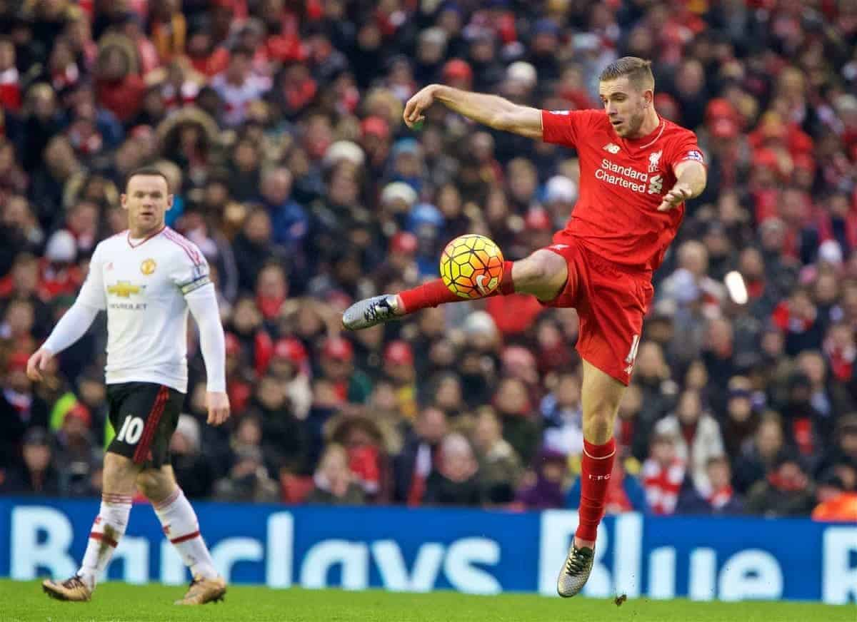 LIVERPOOL, ENGLAND - Sunday, January 17, 2016: Liverpool's captain Jordan Henderson in action against Manchester United during the Premier League match at Anfield. (Pic by David Rawcliffe/Propaganda)