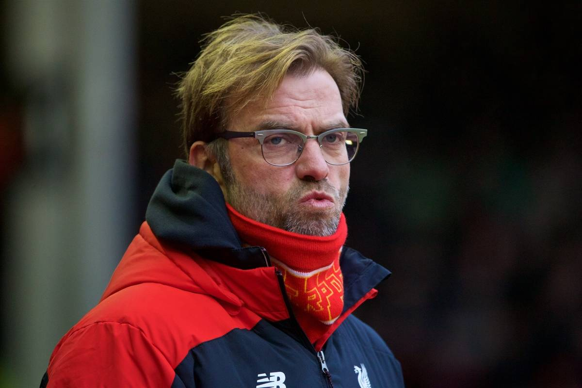 LIVERPOOL, ENGLAND - Sunday, January 17, 2016: Liverpool's manager Jürgen Klopp before the Premier League match against Manchester United at Anfield. (Pic by David Rawcliffe/Propaganda)