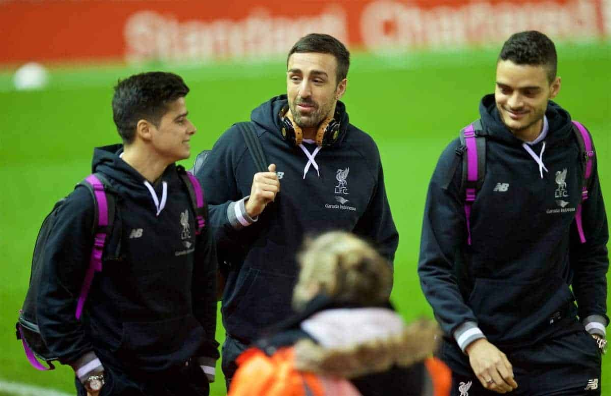 LIVERPOOL, ENGLAND - Wednesday, January 20, 2016: Liverpool's Jose Enrique arrives before the FA Cup 3rd Round Replay match against Exeter City at Anfield. (Pic by David Rawcliffe/Propaganda)