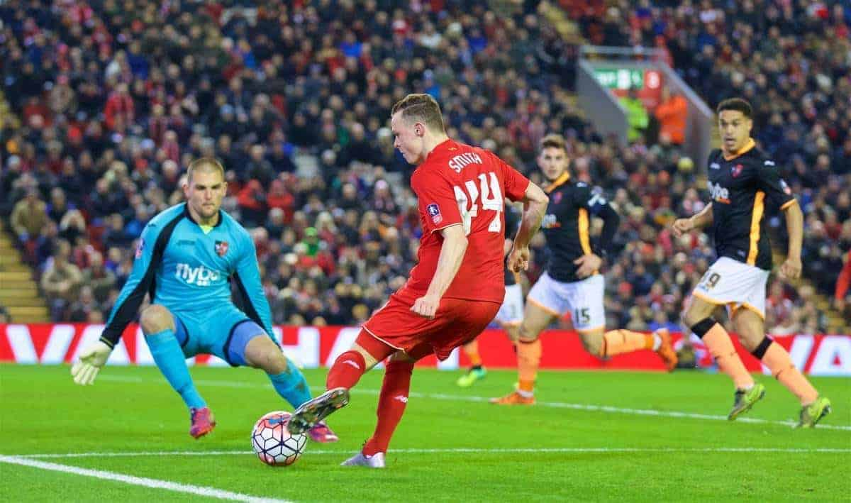 LIVERPOOL, ENGLAND - Wednesday, January 20, 2016: Liverpool's Brad Smith sets up the opening goal against Exeter City during the FA Cup 3rd Round Replay match at Anfield. (Pic by David Rawcliffe/Propaganda)