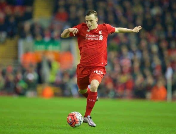 Liverpool's Brad Smith in action against Exeter City during the FA Cup 3rd Round Replay match at Anfield. (Pic by David Rawcliffe/Propaganda)