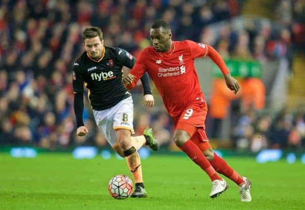 LIVERPOOL, ENGLAND - Wednesday, January 20, 2016: Liverpool's Christian Benteke in action against Exeter City's captain Matt Oakley during the FA Cup 3rd Round Replay match at Anfield. (Pic by David Rawcliffe/Propaganda)