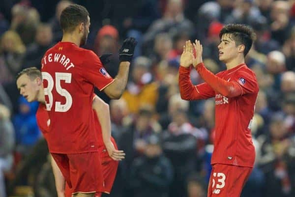 LIVERPOOL, ENGLAND - Wednesday, January 20, 2016: Liverpool's Joao Carlos Teixeira celebrates scoring the third goal against Exeter City during the FA Cup 3rd Round Replay match at Anfield. (Pic by David Rawcliffe/Propaganda)