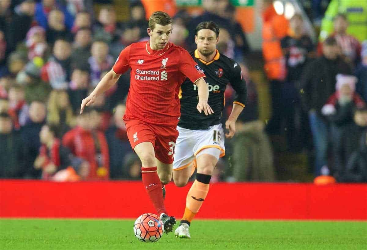 LIVERPOOL, ENGLAND - Wednesday, January 20, 2016: Liverpool's Jon Flanagan in action against Exeter City during the FA Cup 3rd Round Replay match at Anfield. (Pic by David Rawcliffe/Propaganda)