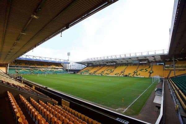 NORWICH, ENGLAND - Friday, January 22, 2016: A general view of Norwich City's Carrow Road stadium before the Premiership match against Liverpool. (Pic by David Rawcliffe/Propaganda)