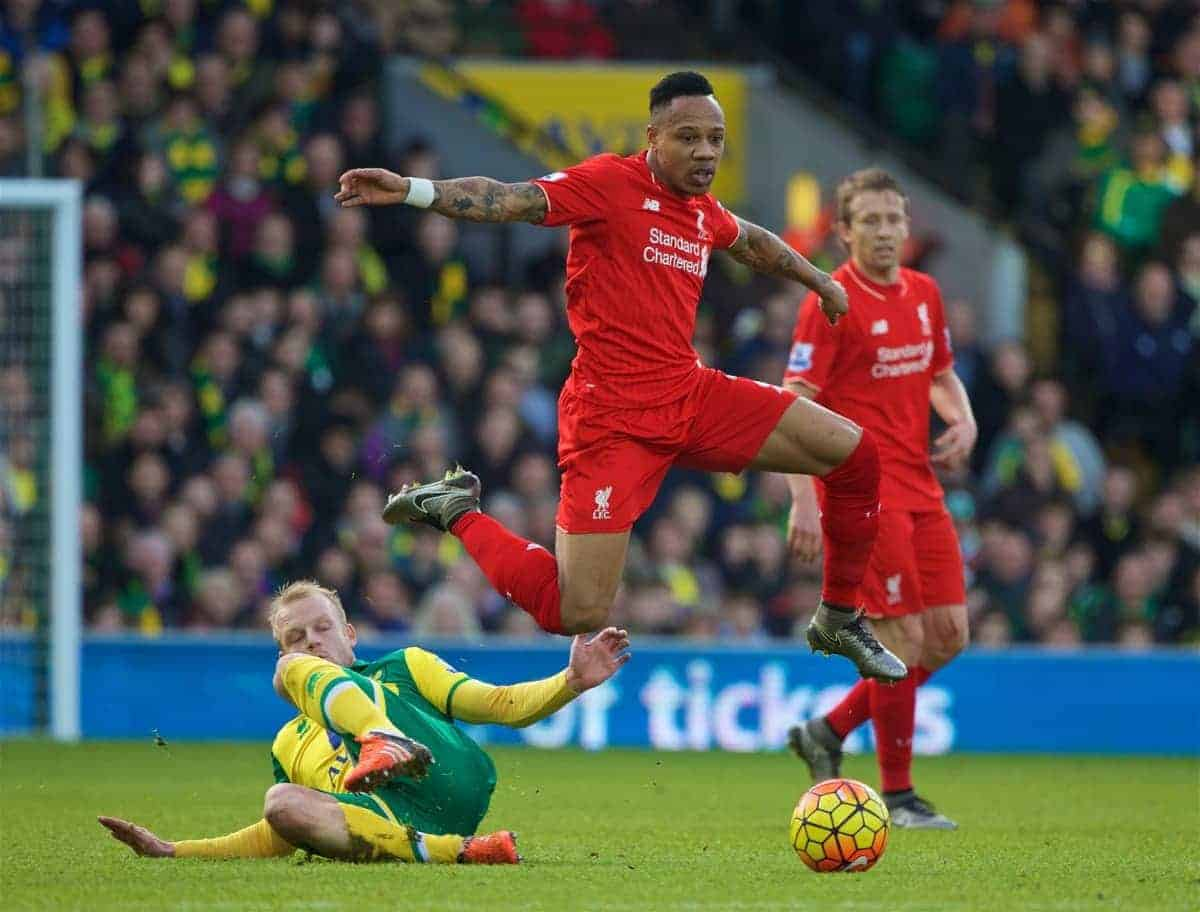 NORWICH, ENGLAND - Friday, January 22, 2016: Liverpool's Nathaniel Clyne in action against Norwich City during the Premiership match at Carrow Road. (Pic by David Rawcliffe/Propaganda)