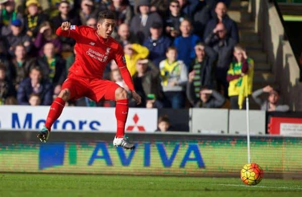 NORWICH, ENGLAND - Friday, January 22, 2016: Liverpool's Roberto Firmino scores the first goal against Norwich City during the Premiership match at Carrow Road. (Pic by David Rawcliffe/Propaganda)