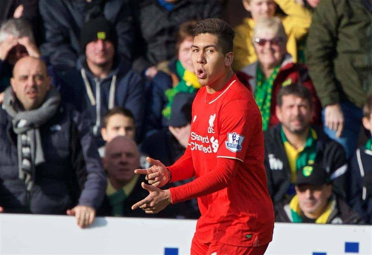 NORWICH, ENGLAND - Friday, January 22, 2016: Liverpool's Roberto Firmino celebrates scoring the first goal against Norwich City during the Premiership match at Carrow Road. (Pic by David Rawcliffe/Propaganda)